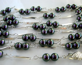 Long Silver and Swarovski Purple Pearl Chain Necklace Purple Pearl Necklace (48 inches)