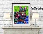 50% Off Today- Cat Folk art Poster Print of  Painting  by Heather Galler