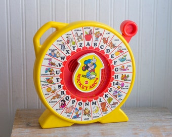 Vintage See and Say with Mickey Mouse, Mattel Alphabet Toy, Retro Disney, Preschool Learning Toy, Yellow Gender Neutral
