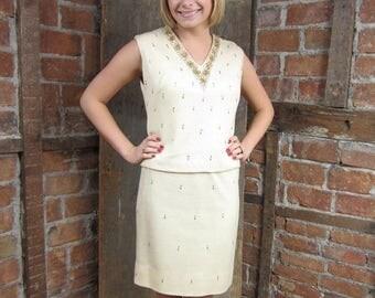On Sale 1960s Beaded Dress/ Knit Dress/ Bugle Bead Sequin Dress