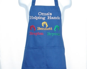 Oma Helping Hands Apron, Custom Personalize With Four Names, For Nina, Meme, Maw, Grandpa,  No Shipping Fee, Ready To Ship TODAY, AGFT 1005