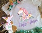 Unicorn birthday shirt girls birthday pony unicorn shirt unicorn birthday party girls birthday shirt custom birthday shirt name and number