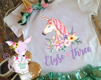 Unicorn birthday shirt girls birthday pony unicorn shirt unicorn birthday party girls birthday shirt custom birthday shirt name and number