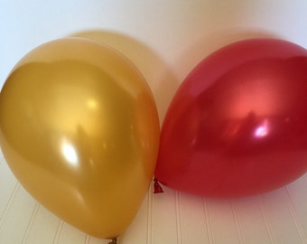 Gold and Red Balloons - Party Balloons - High Quality Balloons - Valentines Balloons -