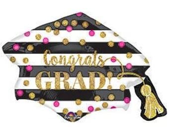 "Ready to Ship - Graduation Balloon - Graduation Party Decorations - 2018 Grad Gold Balloon - Holographic Grad Balloon - 31 "" Jumbo Balloon"