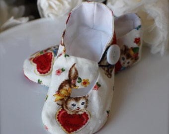 Valentine Kitty Baby Girl Shoes in White, Toddler Girl Shoes - Last Pair, Ready to ship