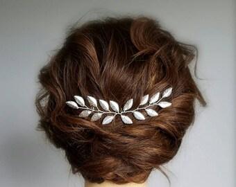 Silver Bridal Hair Comb, Silver Leaf Hair Piece, Silver Leaf Vine, Silver Hair Vine, Bridal Hair Vine, Leaf Hair Pin, Bridal Hairpiece
