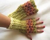 Crochet Fingerless Gloves Crocodile Stitch  in Shades of Green Burnt Orange Plum and Soft White