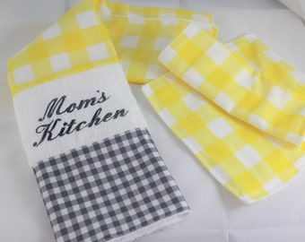 Mom's Kitchen Towel Set - Yellow and Grey Checkered  Towels - Three Piece Kitchen Towel Set - Dish Cloths and Kitchen Dish Towel