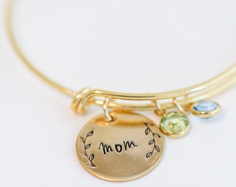 CUSTOM NAME Grandma Bracelet gold  Silver Hand Stamped Charm for mother mom, grammy Nona gram Mimi Custom mothers day gift