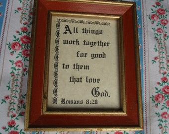 REDUCED Vtg Antique Art Deco Look Framed Religious Romans 8:28 Motto Print Metal Tab Top Small Size Wood Picture Frame