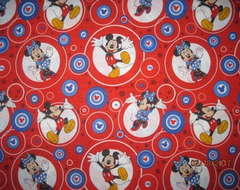 18X22, MICKEY MOUSE, Cotton Fabric, Red, Fat quarter, scrap, remnant, mickey, circles, minnie