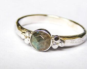 Wedding & Engagement ring, Bridal sets, Labradorite ring , stackable rings, handmade engagement ring, Anniversary rings,Hammered ring