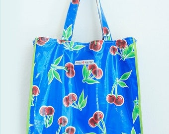 Oilcloth Blue Market Tote  Beach Tote Pool Bag Playa Mediana