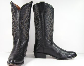 stetson cowboy boots mens 10 D black western leather vintage biker work farm