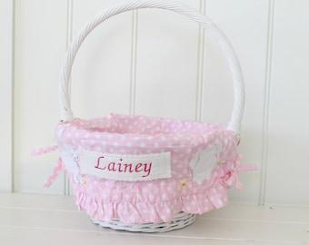 Small Easter Basket Liner -- Pink Polka Dot Bunny-- Free Monogram --