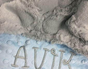 Baby Blanket, Personalized Baby Blanket, Gray Lattice and Blue Minky Baby Blanket, Newborn Baby Blanket, Baby Shower Gift, Mini Size