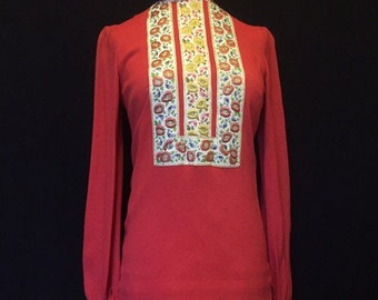 Vintage late 1960s hippy Sujon boutique moss crepe red tunic top with flower and bird embroidered trim