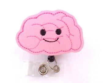 Vinyl badge reel - I like big brains - pink marine vinyl - nurse neuro neurologist doctor badge reel psychologist medical staff