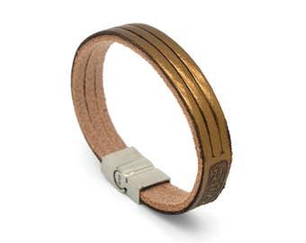Gold leather bracelet, Minimalist cuff bracelet, Metallic leather cuff bracelet  - the TRI Cuff