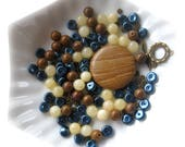 Wood Jasper, Yellow Jade, Blue Glass Pearls, Antiqued Brass, DIY Jewelry Kit, Jewelry Making Beads, Bead Combo, Jewelry Design