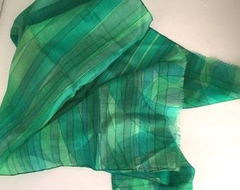 Green Silk Chiffon Scarf Watercolor Stripes Large Designer Scarf Vintage Oblong Rectangle Neck Head Scarf Irene Jackan Paris soie
