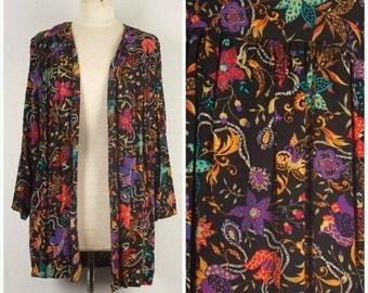 Black Floral Print Smock Jacket Shawl Collar Lightweight unstructured jacket Sharon Anthony Medium Large
