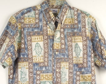 80s vintage Reyn Spooner Tiki Hawaiian Aloha shirt brown green blue outrigger turtle shirt Men large chest tropical Hawaii print