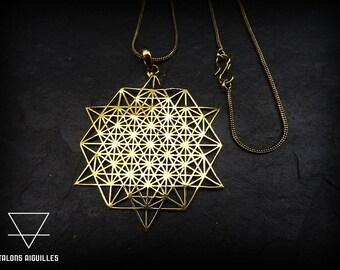 Spring sale 20% off #  Pendentif géométrie sacrée , avec chaine maillon snake # geometric pendent with snake necklace