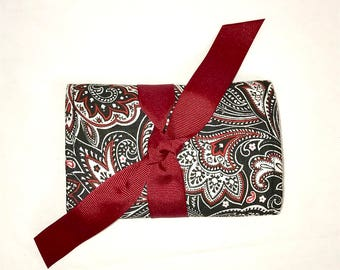 NEW and Original Jewelry Mini Roll in a Paisley Print in Black, Red and White