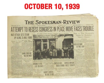 "October, 1939 Newspaper - Spokane, WA Spokesman-Review ""World War Two News"""