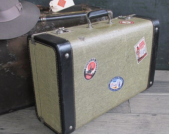 1940s-50s Tweed & Leather Hard-sided Suitcase with Travel Stickers, Gray and Black