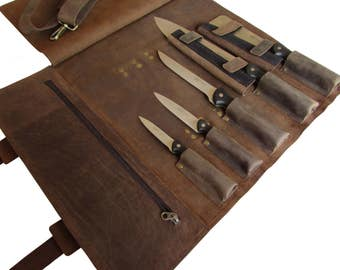 Leather Knife Roll, Leather Chefs Bag, Compact Knife Case, Chef Bag, Knife Bag, 5 Slot Chef's Roll, Brass Buckle - KR2a