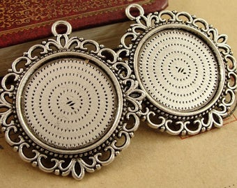 Wholesale 20 Pendant Trays Double Sided 25mm Round Bezel Setting Filigree Rope-Edged Alloy Antique Bronzed/ Antique Silver Mountings- HA3770