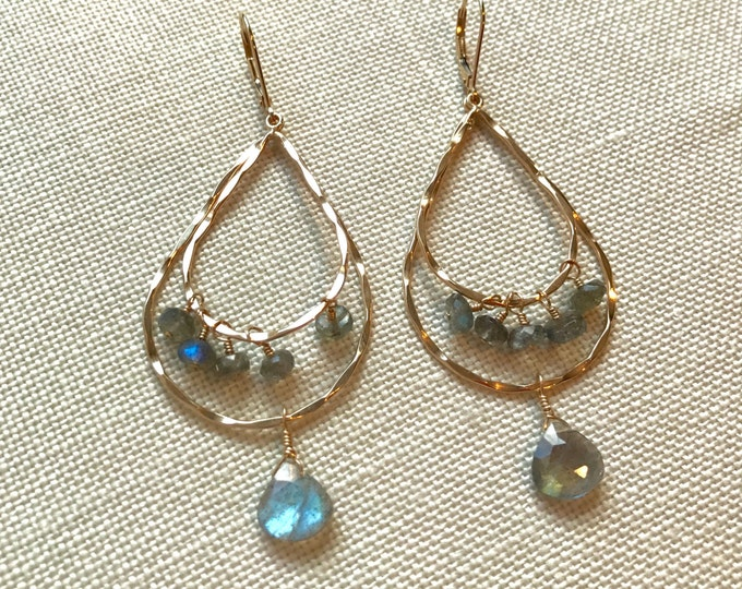 Double Tiered Gold and Labradorite Earrings--RESERVED