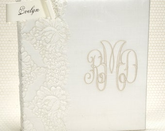 Lace Wedding Memory Book / Wedding Guestbook / Unique Wedding Guest Book / Bride Book / Monogram Guestbook - Evelyn