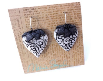 "Heart earrings "" Black Lace"" by Marie Segal 2016 stainless steel wires"