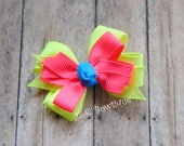 NEON Double layer classic bow...neon pink, yellow and blue