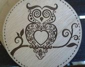 Wood Coaster - Rustic Owl - Plywood best quality - SOU044