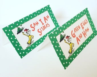 Dr Seuss Food Labels, Green Eggs and Ham Food Labels, Cat In The Hat Party Labels