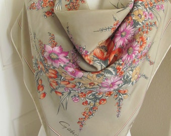 "Gabrielli // Beige Floral Soft Silk Scarf // 34"" Inch 90cm Square"