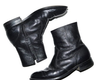 ON SALE Vintage 1980's Good Year Black Leather Mens Ankle Boots Vintage 9E Made in Usa Motorcycle Biker