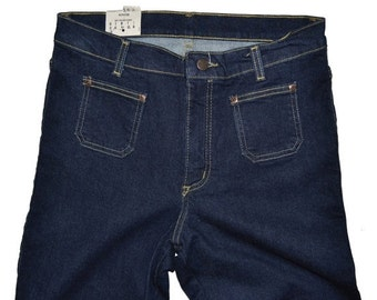 ON SALE Vintage Womens WRANGLER Bootcut Pleated Pockets Jeans 32x30 Dark Blue Stretch Hipster