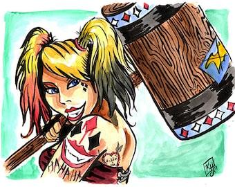 Harley Quinn / Original Art / Fanart / DC Comics / Batman / Watercolor Painting / Ink / Tattoo / Character Concept / Villain