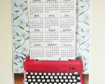 2017 Large A3 Wall Calendar - Retro typewriter