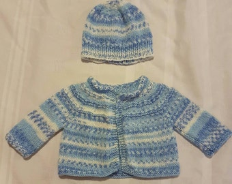 Knitted Newborn Baby Sweater and Hat  Ready to Ship