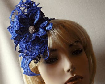 Stiffened Blue Lace Headpiece