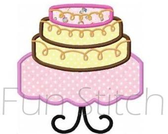 Tiered cake applique machine embroidery design