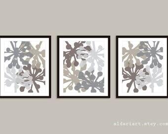 Modern Flower Buds Art Prints - Set of 3 prints - Taupe and Grey - Modern Flowers Wall Art - Flowers Posters - Aldari Art