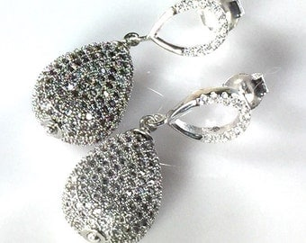 LP 1373  Silver Pear Shaped Drops With CZ's In A Pave Setting  And Sterling Silver Diamond White CZ Teardrop Post Earrings